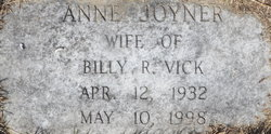 Anne <I>Joyner</I> Vick