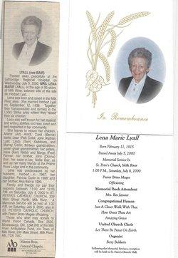 Lena Marie <I>Bair</I> Lyall