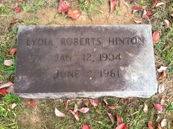 Mrs Lydia Mary <I>Roberts</I> Hinton
