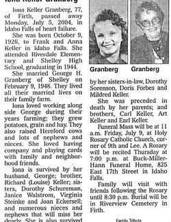 Iola Bernadette Keller Granberg 1926 2004 Find A Grave Memorial