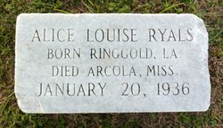 Alice Louise <I>Williams</I> Ryals