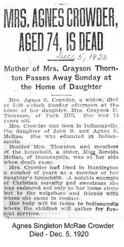 Agnes S. <I>McRae</I> Crowder