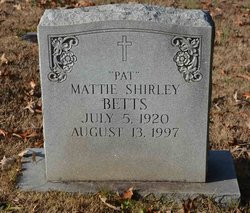 Mattie <I>Shirley</I> Betts