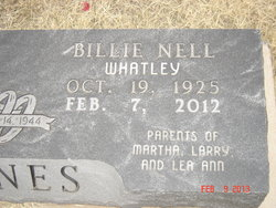 Billie Nell <I>Whatley</I> Hines