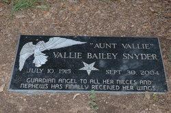 "Vallie Marie ""Aunt Vallie"" <I>Bailey</I> Snyder"