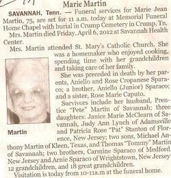 Marie Jean <I>Sparaco</I> Martin