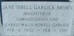 Jane Isbell <I>Garlick</I> Brown