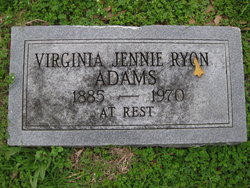 Virginia Jennie <I>Ryon</I> Adams