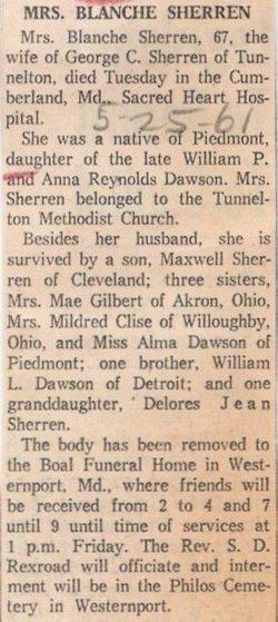 Blanche T. <I>Dawson</I> Sherren