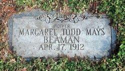 Margaret May <I>Todd</I> Beaman