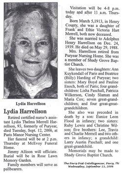 Lydia Thelma <I>Merrell</I> Harrellson