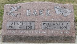"""Willanette Henrietta """"Willie"""" <I>Bierwirth</I> Bakk"""