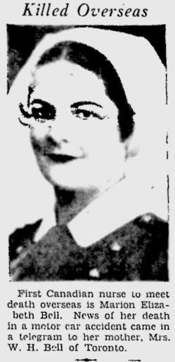 Lieutenant ( Nursing Sister ) Marion Elizabeth Bell