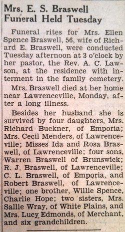 Ellen E <I>Spence</I> Braswell