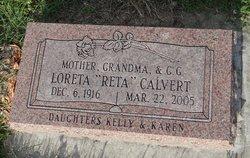 """Loreta Frances """"Reta"""" <I>Daniel</I> Calvert"""