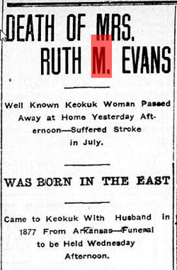 Mrs Ruth M <I>Sheppard</I> Evans