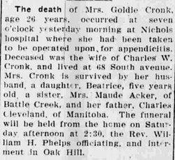 Goldie E Cronk