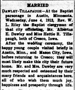 "Henrietta Rachel ""Hattie"" <I>Tillapaugh</I> Dawley"