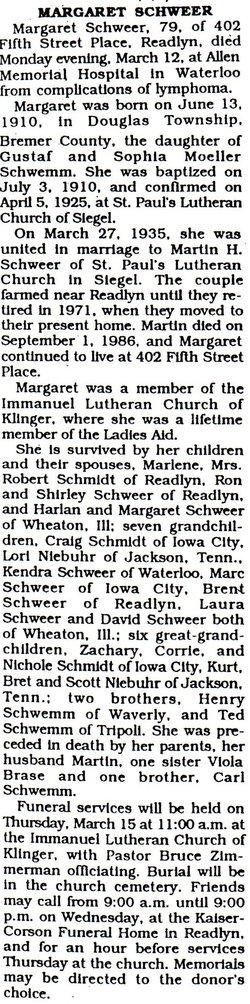 Margaret <I>Schwemm</I> Schweer