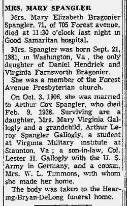 Mary E. <I>Bragonier</I> Spangler