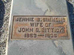 "Virginia ""Jennie"" <I>Simmons</I> Bittick"
