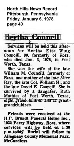 Bertha Etta <I>Wing</I> Councill
