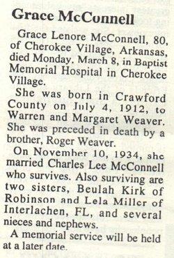 Grace Lenore <I>Weaver</I> McConnell