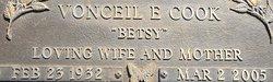"""Vonceil Elizabeth """"Betsy"""" <I>Bell</I> Cook"""