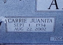 Carrie Juanita <I>Young</I> Adams