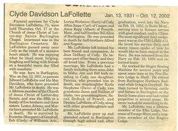 Clyde D LaFollette