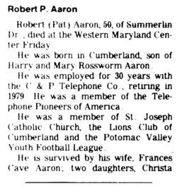 "Robert Patrick ""Pat"" Aaron"