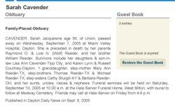 Sarah Jacqueline <I>Reeder</I> Cavender