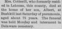 Margaret Ann <I>Faithfull</I> Cotterill