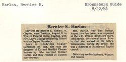 Bernice E <I>Kenworthy</I> Harlan