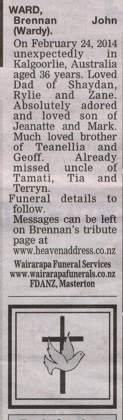 "Brennan John ""Wardy"" Ward (1977-2014) - Find A Grave Memorial"