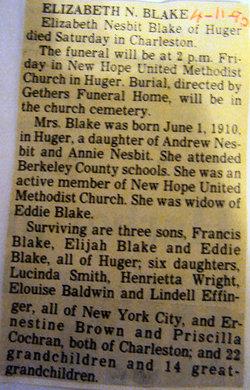 Elizabeth <I>Nesbit</I> Blake