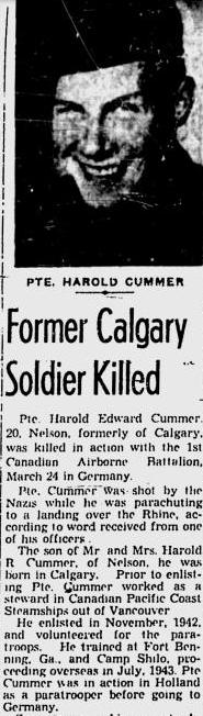 Private Harold Edward Cummer