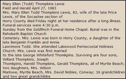 Mary Ellen <I>Todd</I> Lewis