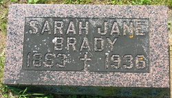 """Sarah Jane """"Sallie"""" <I>O'Hara</I> Brady"""