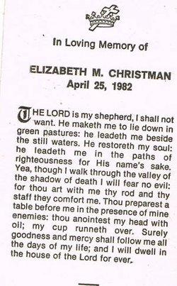 Elizabeth M <I>Ebert</I> Christman