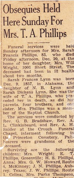 Sarah Frances Lynn Phillips (1857-1940) - Find A Grave Memorial
