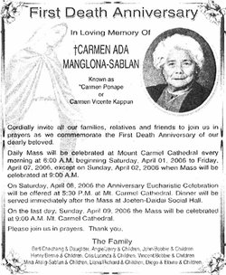 Carmen Ada Manglona Sablan 19242005 Find A Grave Memorial