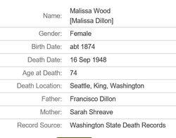 Malissa Adeline Dillon Wood (1874-1948) - Find A Grave Memorial