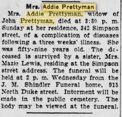 Mrs Addie <I>Brown</I> Prettyman