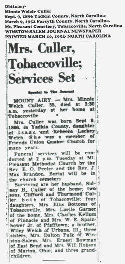 minnie welch culler (1896-1952) - find a grave memorial