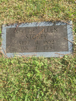 Mattie <I>Allen</I> Storey