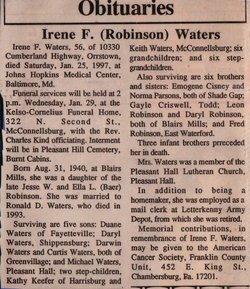 Francis Irene <I>Robinson</I> Waters