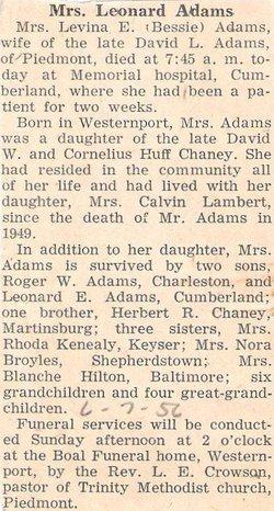 Lavina Elizabeth <I>Chaney</I> Adams