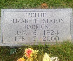 "Frances Elizabeth ""Pollie"" <I>Staton</I> Barrick"