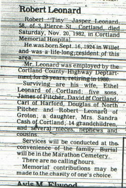 "Robert Jasper ""Tiny"" Leonard"